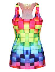 Women's 3D Cube Print Racerback Vest Tank Top