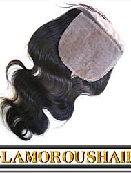 "1Pc/lot 8""-24"" Cambodian Virgin Hair Natural Color Body Wave 4""X4"" Top Silk Base Closure"