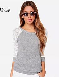 Women's Vintage/Casual/Cute/Plus Sizes Micro-elastic Long Sleeve Regular Blouse (Lace/Cotton)