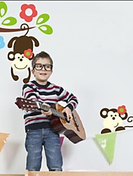 Cute Monkeys Playing On Trees Animal Wall Stickers For Kids Rooms Zooyoo1202 Removable Pvc Wall Decals Home Decoration