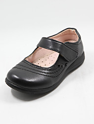 Girl's Spring Round Toe Leather Wedding Flat Heel Black