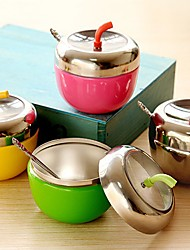 Stainless Steel Apple Shaped Seasoning Box Spice Jar With Spoon Kitchen Tool (Random Color)