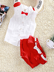 Girl's Cotton/Polyester Sweet Simple Sleeveless Clothing Set