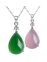 S925 Sterling Silver Seeds Chain Pendant Necklace Japan & Korea Popular Natural Chalcedony Drop Pendant Necklace