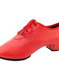 Non Customizable Women's Dance Shoes Flocking Flocking Modern High Heels Chunky Heel Beginner / Professional / Indoor / PracticeBlack /