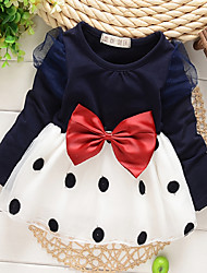 Girl's  Fashion Leisure Bowknot  Long Sleeve Dress