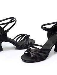 Customizable Women's Dance Shoes Latin / Dance Sneakers Satin / Leatherette Cuban HeelBlack /  Brown /  Silver / Gold /