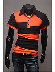 Men's Shirt Collar T-Shirts , Cotton Blend Short Sleeve Vintage Hollow Out All Seasons HI MAN