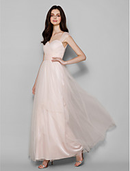 Lanting Bride® Floor-length Tulle Bridesmaid Dress Sheath / Column Queen Anne Plus Size / Petite with Criss Cross