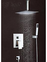 "8""Modern Rain Shower Faucet Set Valve Mixer Tap Hand Sprayer Wall Mount"
