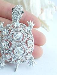 Women Accessories Silver-tone Clear Rhinestone Crystal Turtle Tortoise Brooch Art Deco Crystal Brooch