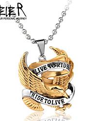 aço inoxidável uma peça viva para montar pingente de colar para o piloto motociclista hd titânio jóias