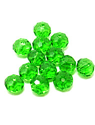 Beadia 120PCS Fashion Glass Facetted Beads 6x8mm Flat Round Shape Green Color DIY Spacer Loose Beads