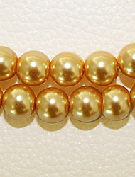 Beadia 2 Str(approx 180pcs) 10mm Round Glass Beads Yellow Color Imitation Pearl Beads DIY Spacer Loose Beads