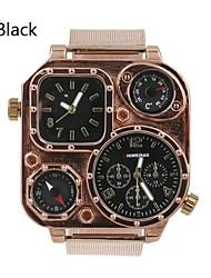 cuarzo militar cuadrada cinturón de malla de acero inoxidable reloj de zona doble de tiempo de los hombres