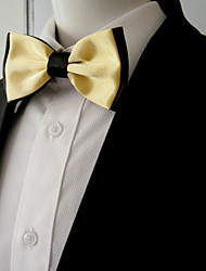 Men's Black Yellow Solid Bow Tie Pre-tied Dress Wedding Blend Ajustable SilkBlend Wedding