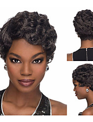 Classic pixie cut Synthetic african american wigs with bangs Modern Short Curly hair Black wigs for women