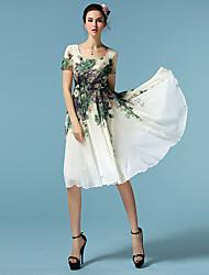 Women's Blossoms Chiffon Knee Length Casual Dress