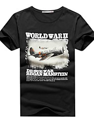 2015 New Arrival Summer Men's Casual Vintage Style WORLD WAR Ⅱ Print  Short Sleeve Regular T-Shirts (Cotton)