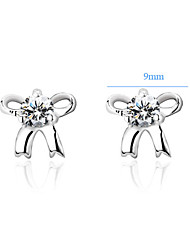 Fine Jewelry 925 Silver Studs Pure Silver Women Earrings Classic Lovely 925 Silver Bow CZ Earrings