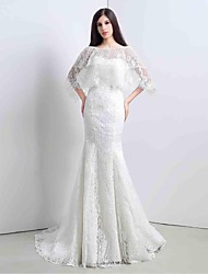 Trumpet/Mermaid Wedding Dress-Ivory Sweep/Brush Train Sweetheart Lace