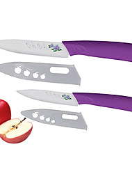 2 Pieces Flower Patterned Blade Ceramic Knife Set 4''Fruit Knife/5''Utility Knife with Covers Purple Color