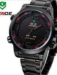 WEIDE Men Fashion Sports Analog & Digital LED Display Multi-functional Full Black Stainless Steel Wrist Watch