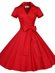 Vestito Da donna Taglie forti Taglie forti / Vintage / Da serata / Da ufficio / Casual Tinta unita Al ginocchio A V scollato Cotone