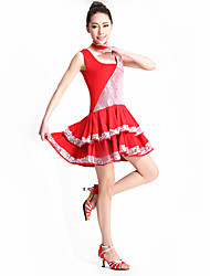 Latin Dance Gymnatics/Dresses/Tutus Women's Performance/Training Sequined/Tulle/Milk FiberCascading