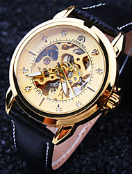 Men's New Round Diamond Dial Mineral Glass Mirror Genuine Leather Band Waterproof Fashion Mechanical Watch Wrist Watch Cool Watch Unique Watch