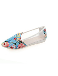 Women's Shoes Tulle Flat Heel Closed Toe Loafers Outdoor/Casual Blue/White