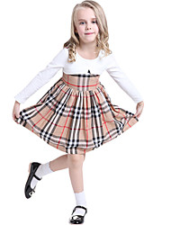 Children Spring Girls Fashion Casual Long Sleeve Grid Dress Clothes