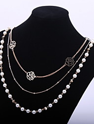 Cute Women's Sweater Chain Rose Flower Long Necklace with Pearl Beads