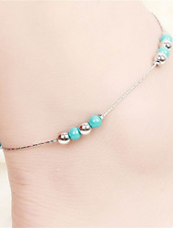 Vilam® Hot Girl Ankle Bracelet Bead Chain Silver Bead Torquise Color Beads Anklet Foot Jewelry
