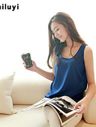 Women's Blue/Pink/Red/White/Black/Green/Orange/Yellow Blouse , Casual/Plus Sizes Round Neck Sleeveless