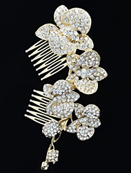 Alloy  Rhinestone Women Wedding Prom Flower Girl Leaves Flower Hair Comb (2 Colors)