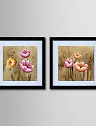 olieverf decoratie abstract hand beschilderd doek met gespannen ingelijst - set van 2