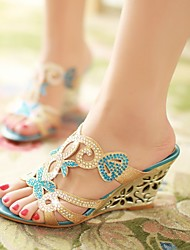 Women's Shoes Synthetic Wedge Heel Wedges/Heels Sandals Casual Blue/Gold