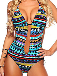 Women's Vintage Bohemia Style Triangle Design Pattern  One pieces Swimwear