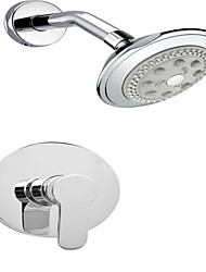 "Chrome Wall Mount Tub Simple Faucet Set 4"" Plastic Shower Head Mixer Tap"