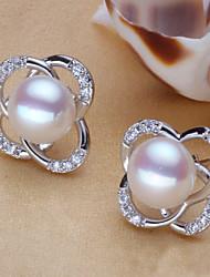 plaqué z & x® 925 élégante douce fleur forme frais boucles d'oreilles perles d'eau mariage / fête / jour