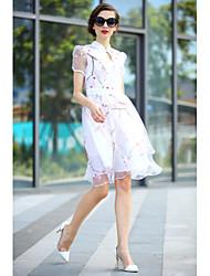 Mulheres Vestido Acima do Joelho Manga Curta Colarinho Chinês Mulheres