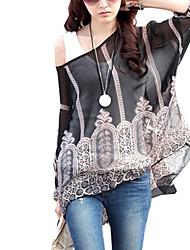 Women Dolman Sleeve Chiffon Bohemian Tops Blouses Clothes