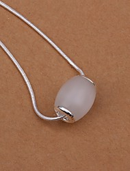 Fashion Oval Beads Silver Plated European And American Style Necklace(White)(1Pc)