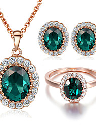 T&C Women's 18K Rose Gold Plated Rhinestones Emerald Green Crystal Pendant Necklace Earrings and Ring Set
