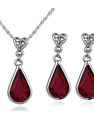 T&C Women's 18K White Gold Plated Red Austria Crystal Waterdrop Pendant Necklace Earrings Ruby Jewelry Sets