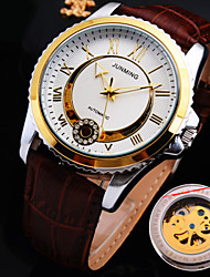 Men's Wrist watch Automatic self-winding Water Resistant / Water Proof Hollow Engraving Leather Band Black Brown