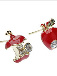 Apple Red Metal Diamond Stud Earrings