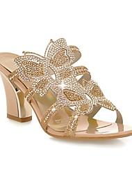 Zapatos de mujer - Tacón Robusto - Punta Abierta - Sandalias - Exterior / Oficina y Trabajo / Vestido - Semicuero - Azul / Oro