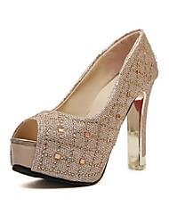 Women's Shoes Glitter Stiletto Heel Peep Toe/Platform Sandals Casual Silver/Gold